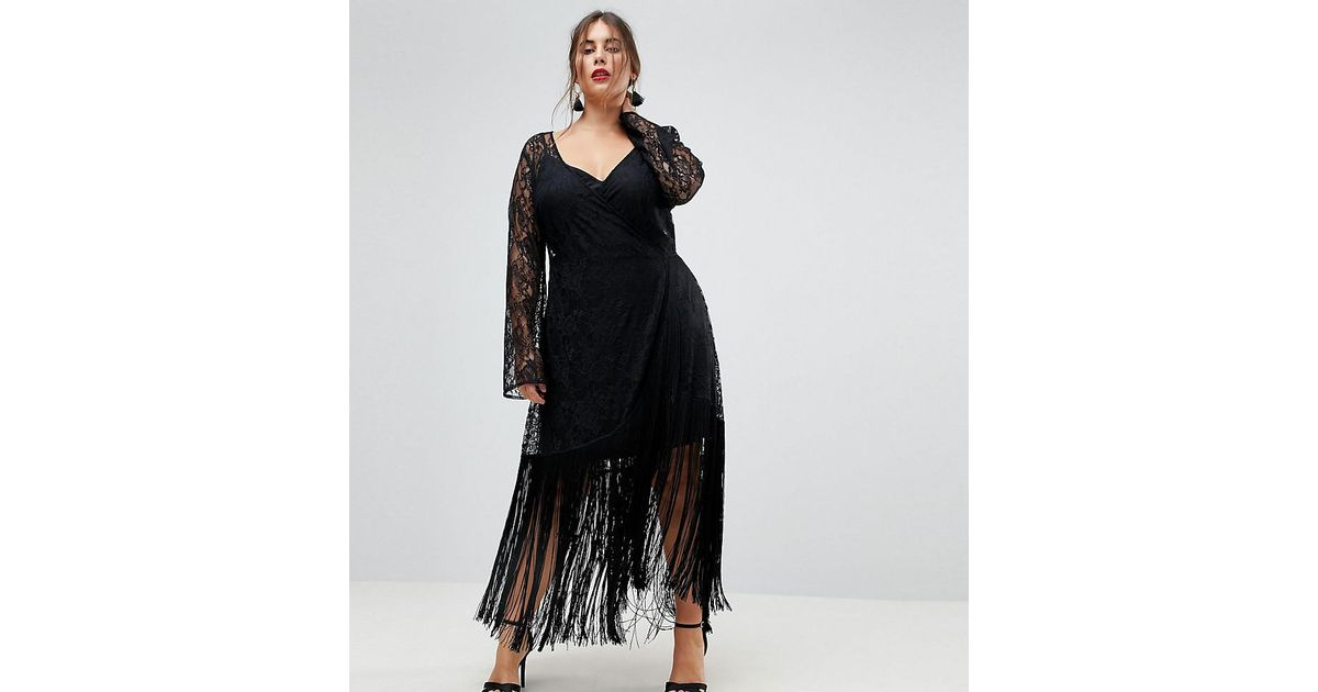 8895e57ece Lyst - ASOS Lace Deep Plunge Fringe Wrap Midi Dress in Black