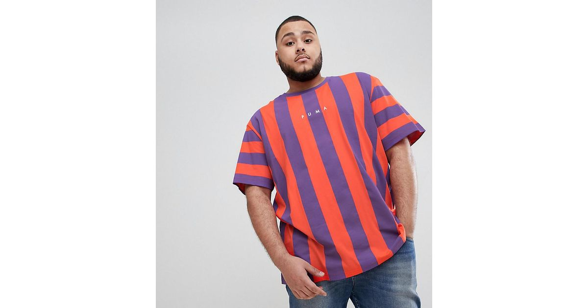 d97915106991 PUMA Plus Vertical Stripe T-shirt In Red Exclusive To Asos in Red for Men -  Lyst