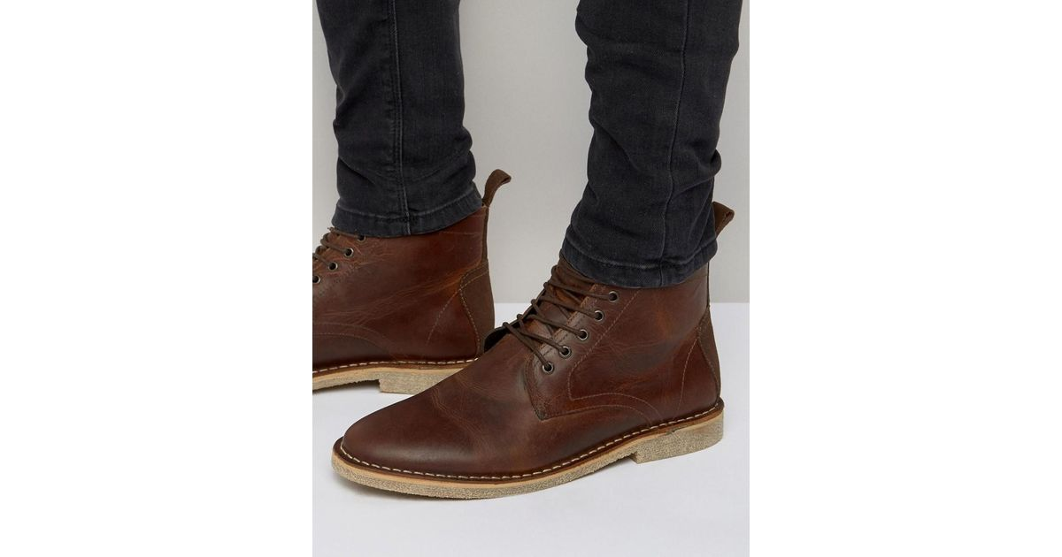 hot-selling professional best prices complete in specifications ASOS Brown Desert Boots In Tan Leather With Suede Detail for men