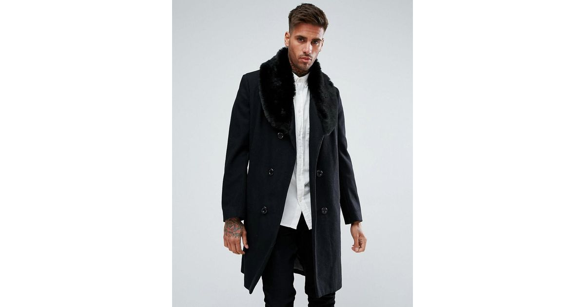 2071733473d Lyst - BoohooMAN Double Breasted Wool Overcoat With Faux Fur Trim In Black  in Black for Men