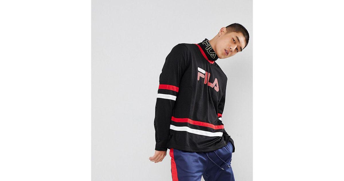 2280da6d4653 Fila Black Line Mesh Long Sleeve T-shirt With Logo In Black Line in Black  for Men - Lyst