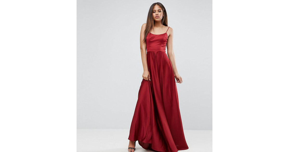 6538dbe63d ASOS Square Neck Cami Maxi Dress in Red - Lyst