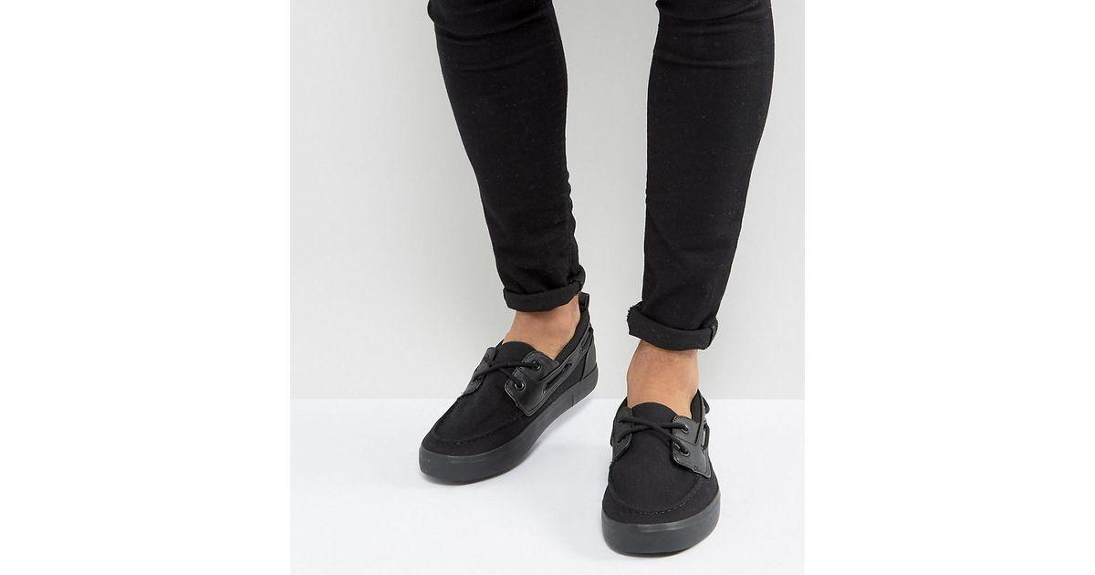 Asos Chaussures Bateau Coupe Large En Toile Noir - Noir iocd7lH