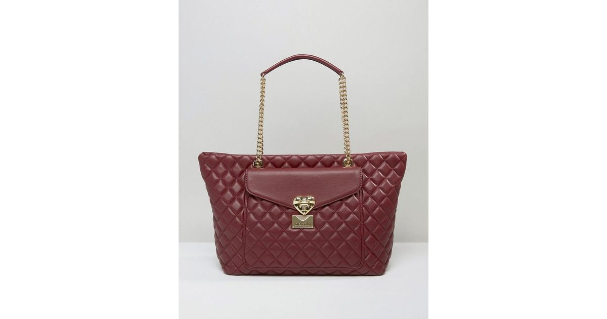 Lyst Love Moschino Quilted Tote Bag With Pocket Detail