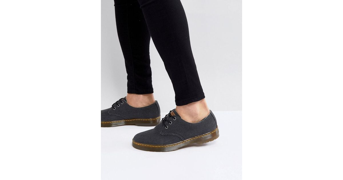 best loved 3098c 2c0f1 dr-martens-black-Delray-3-eye-Shoes-In-Heavy-Canvas.jpeg
