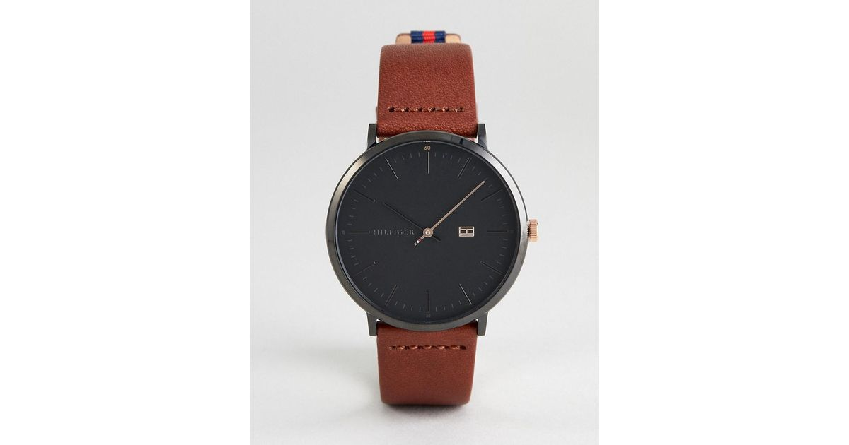 85c9445f Tommy Hilfiger 1791461 Leather Watch In Brown 40mm in Brown for Men - Lyst
