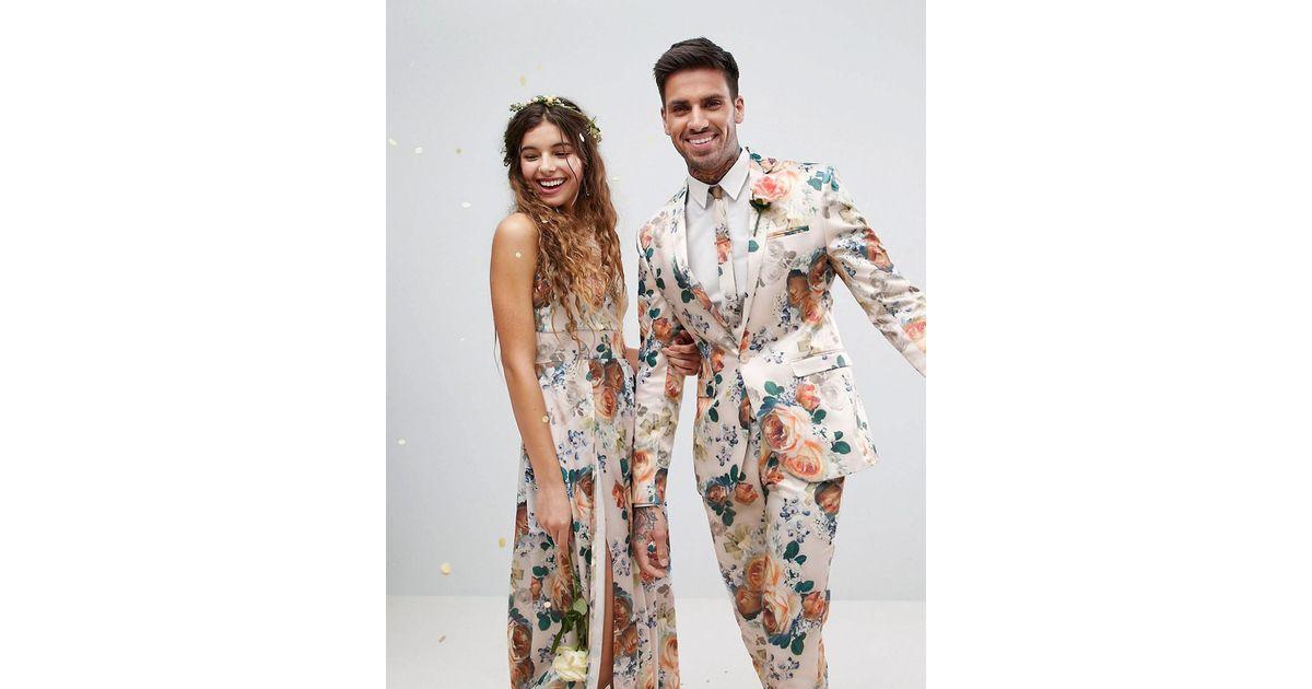 761012c5b740 ASOS - Multicolor Asos Wedding Super Skinny Suit Jacket In Champagne Floral  for Men - Lyst