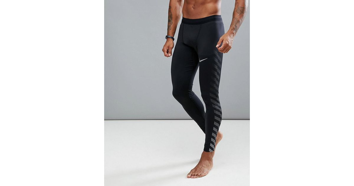 c03f2acd08fcb Nike Power Tech Flash Reflective Tights In Black 859268-010 in Black for Men  - Lyst