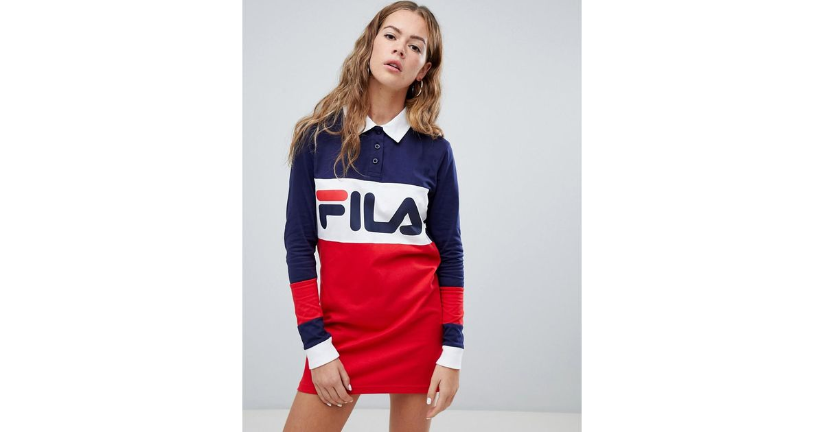 b82b40ba16e5c Fila Long Sleeve Rugby Dress In Colour Block in Red - Lyst