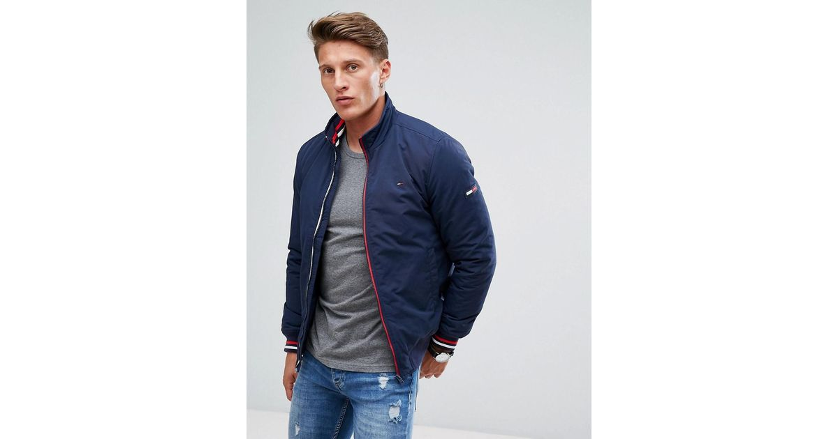 591b127a Hilfiger Denim Tommy Insulated Bomber Jacket Icon Stripe Trim In Navy in  Blue for Men - Lyst