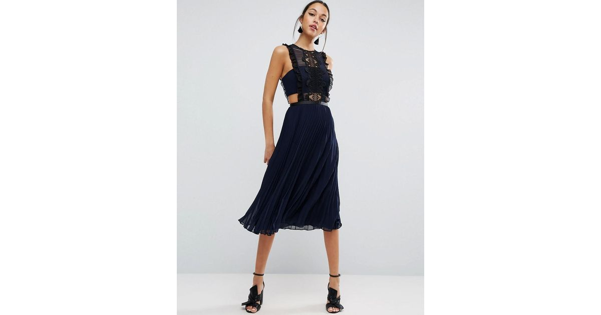 variety design special discount hot sale ASOS Blue Lace Pinafore Pleated Midi Dress