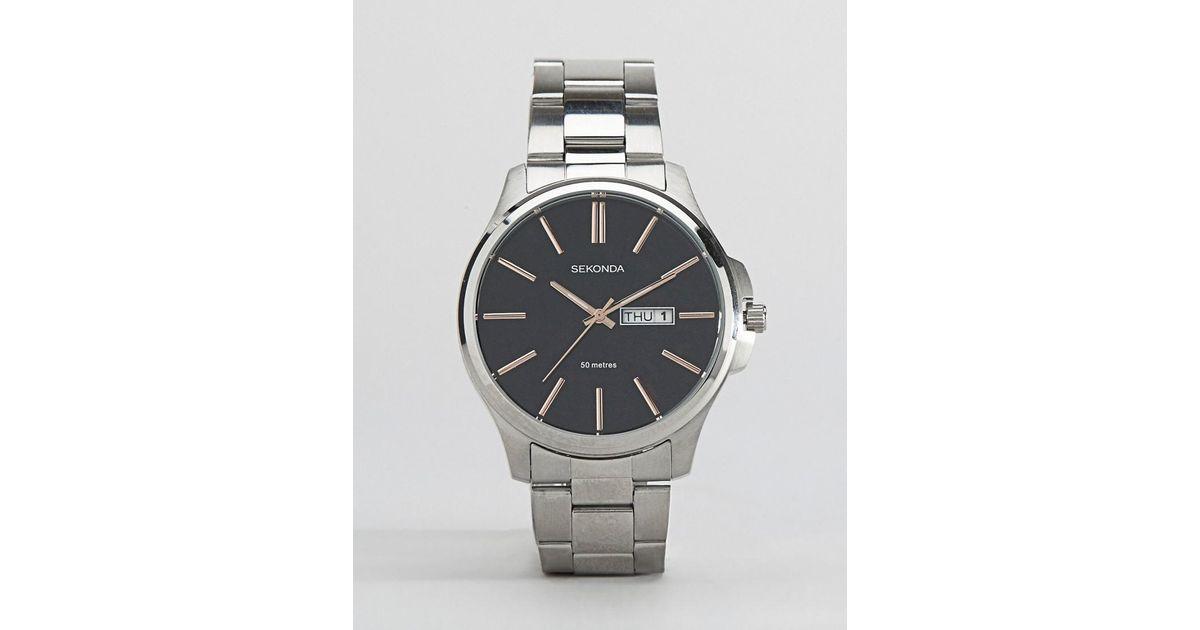 0f324007324d Reloj de pulsera plateado de Sekonda de hombre de color Metálico - Lyst