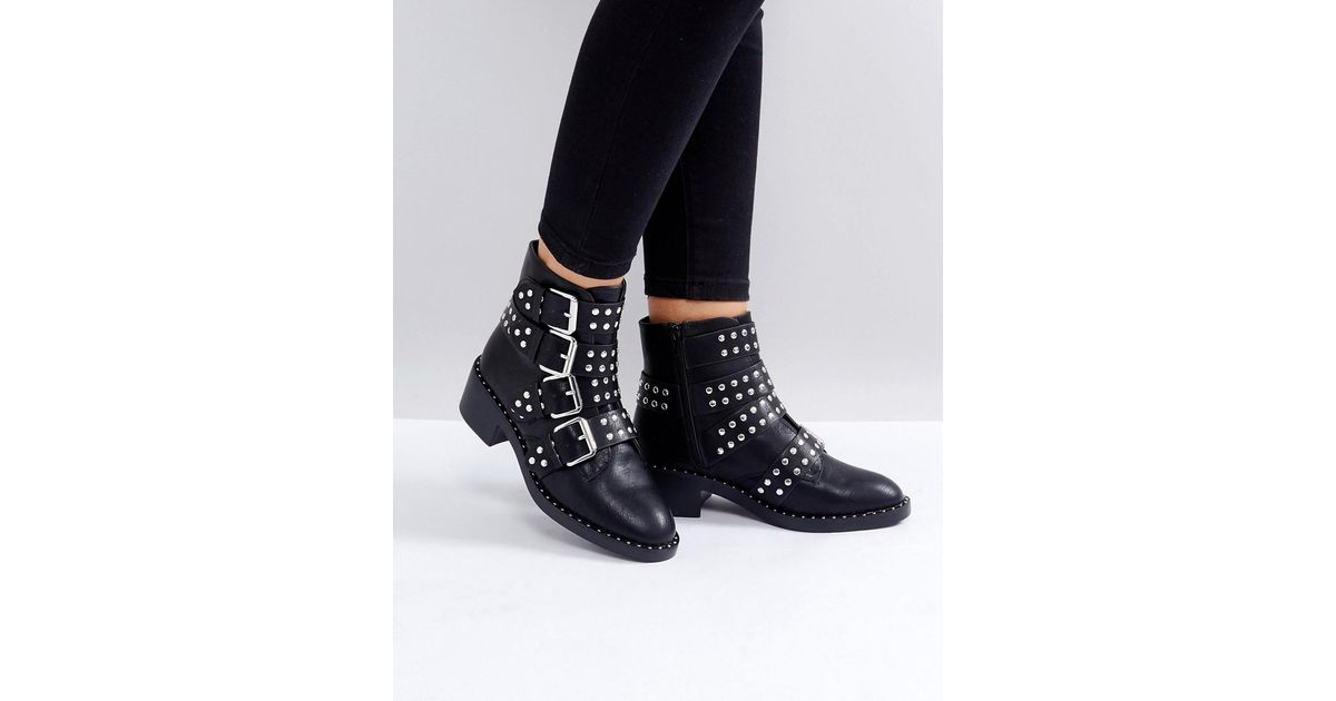 aec01041858d Glamorous Black Studded Buckle Flat Ankle Boots in Black - Lyst
