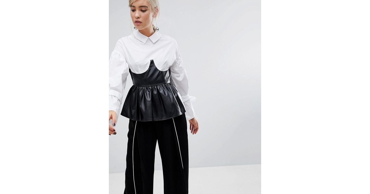 672c848743a6d Lyst - Lost Ink Shirt With Tie Sleeves And Faux Leather Corset Peplum in  White