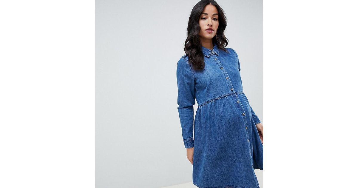 a00b6a80915 ASOS Asos Design Maternity Denim Smock Shirt Dress In Midwash Blue in Blue  - Lyst