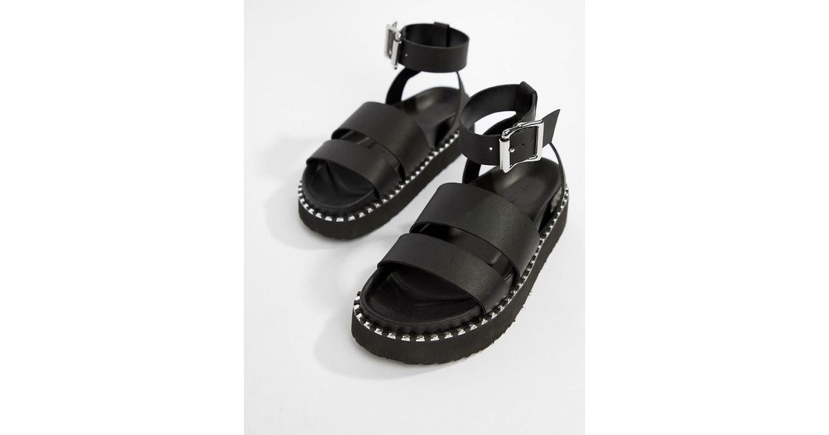 4dd1f743fbf Lyst - ASOS Feebs Leather Chunky Flat Sandals in Black