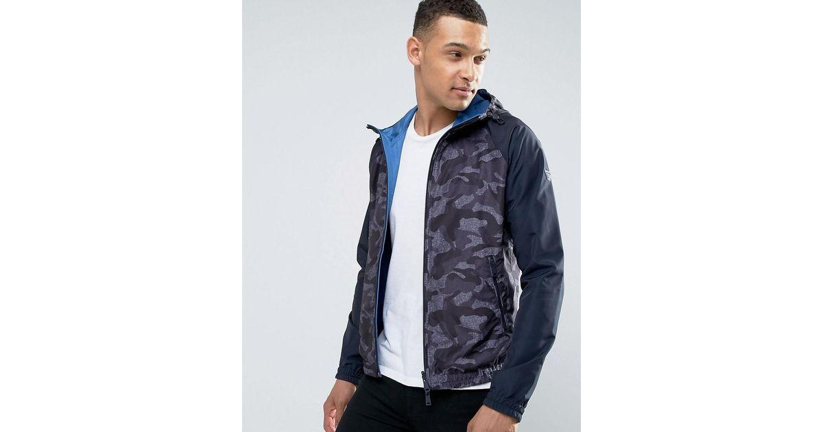 1ffa2692322c5 Armani Jeans Hooded Camo Jacket In Blue in Blue for Men - Lyst