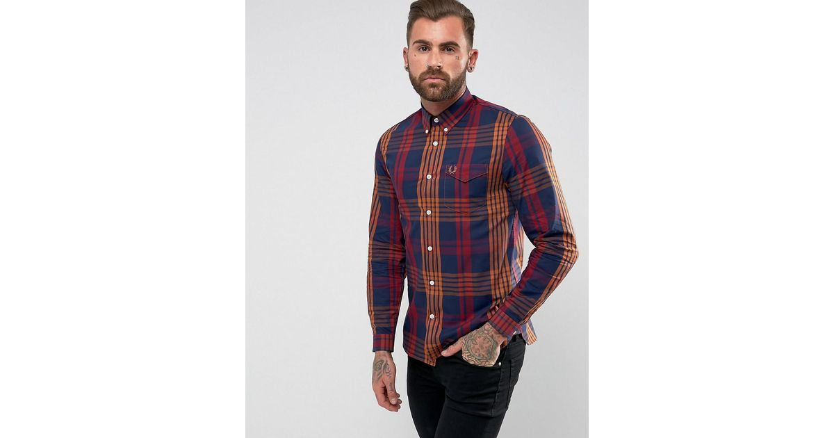 c0c73b58e Fred Perry Twill Check Shirt In Red in Red for Men - Lyst