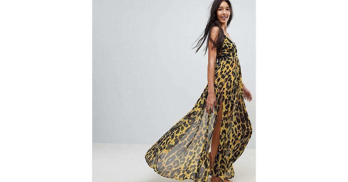f2d7e23a13 ASOS Asos Design Tall Cheetah Print Plunge Chiffon Maxi Beach Dress - Lyst