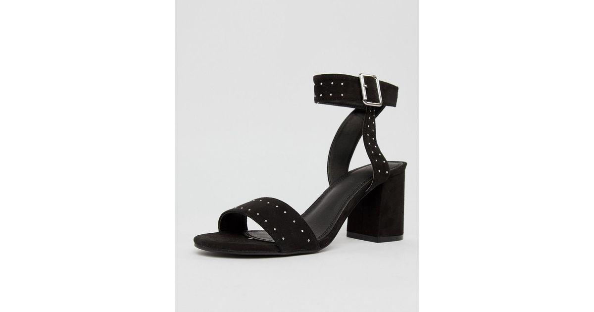 d36cd1c024 Pimkie Studded Block Heeled Sandals in Black - Lyst