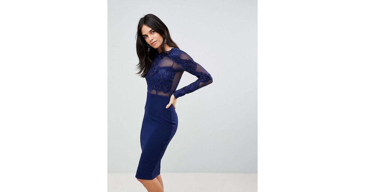 Ax paris long sleeve applique bodycon dress in blue lyst
