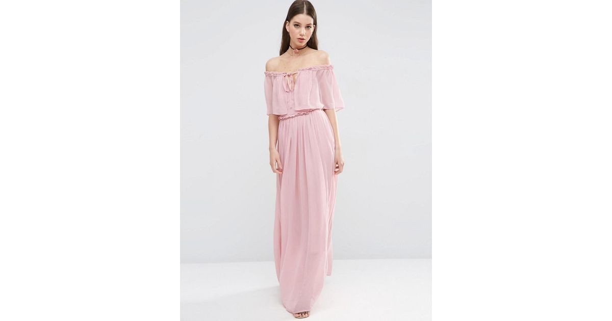 9a8ad9cc192 ASOS Ruffle And Tiered Off Shoulder Maxi Dress in Pink - Lyst