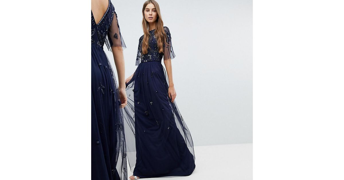 c8d530a726 Robe longue avec top ornement et manches cape Amelia Rose en coloris Bleu -  Lyst