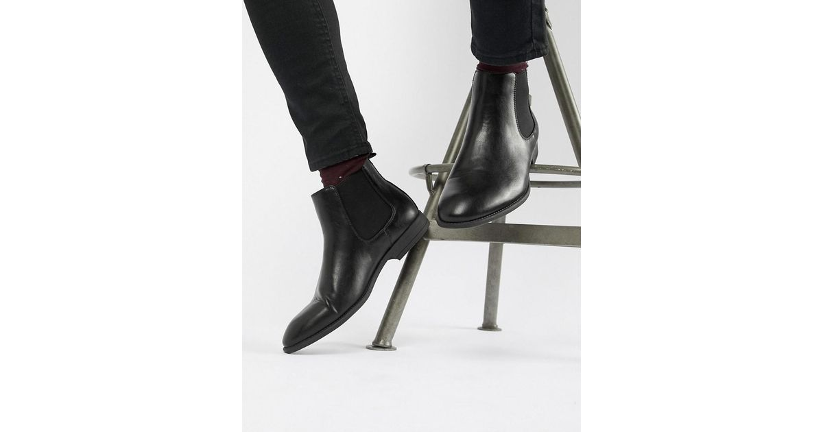 06e07aa636643 New Look Faux Leather Chelsea Boots In Black in Black for Men - Lyst
