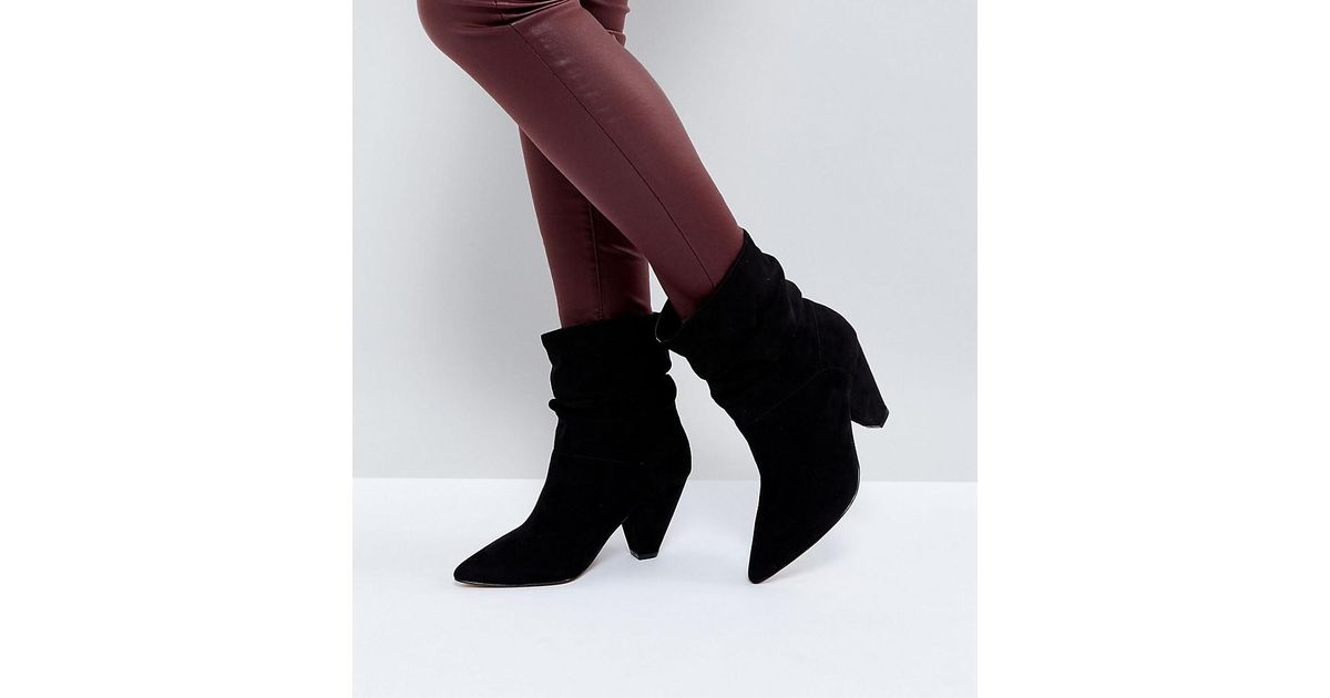 6efd161f3da Lyst - ASOS Reeves Wide Fit Slouch Heeled Ankle Boots in Black