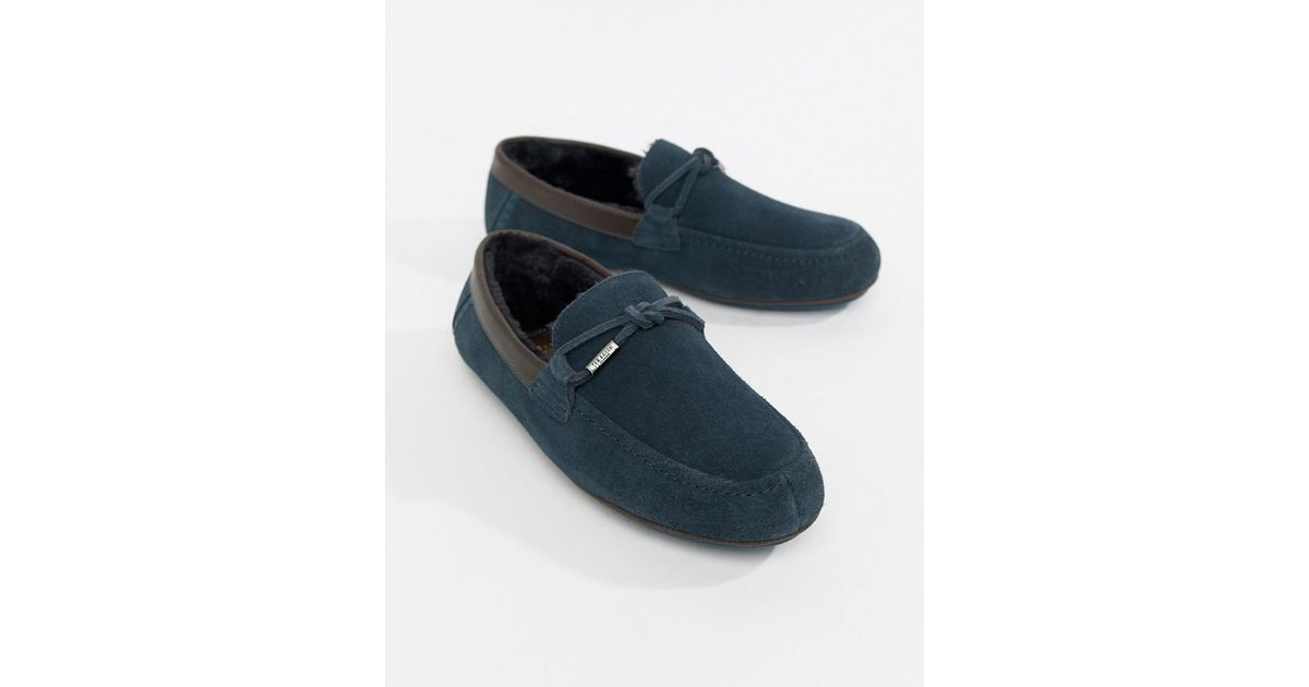 c7cd0240b Lyst - Ted Baker Valcent Moccasin Slippers In Navy Suede in Blue for Men