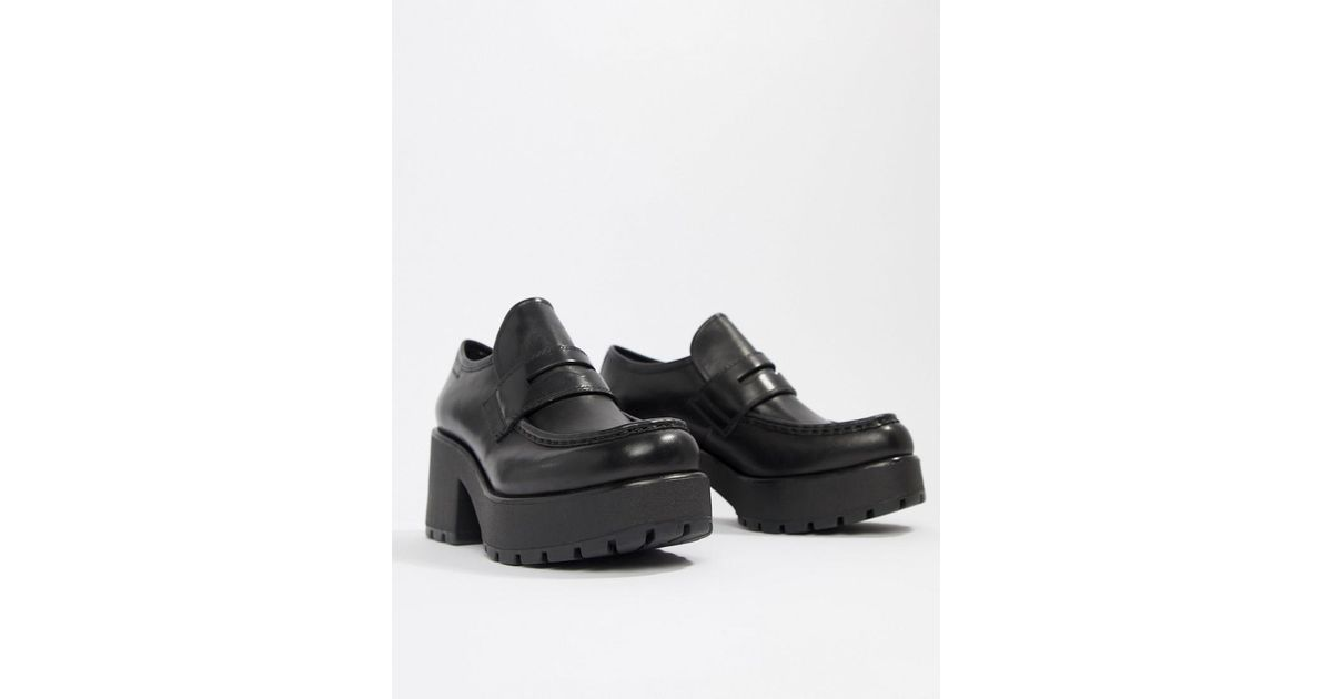 8c4f4195342b Vagabond Dioon Black Leather Platform Block Heeled Loafer in Black - Lyst