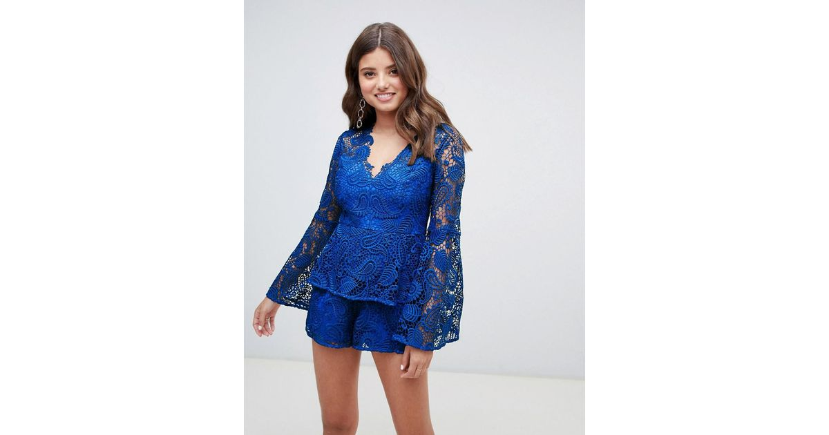 ddcdbace01 Lyst - ASOS Lace Playsuit With Ruffle Tiers And Fluted Sleeve in Blue