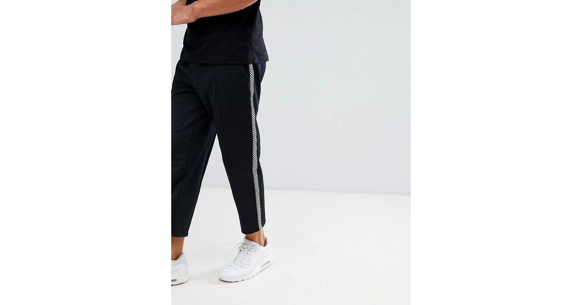 f0d434ffb5a22c Lyst - Pantalon de jogging avec bandes carreaux sur les cts Only   Sons  pour homme en coloris Noir