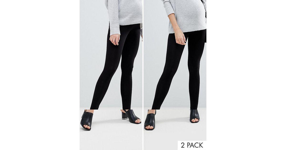 b593e5d8da1bc ASOS Asos Design Maternity 2 Pack Over The Bump High Waisted leggings In  Black in Black - Lyst