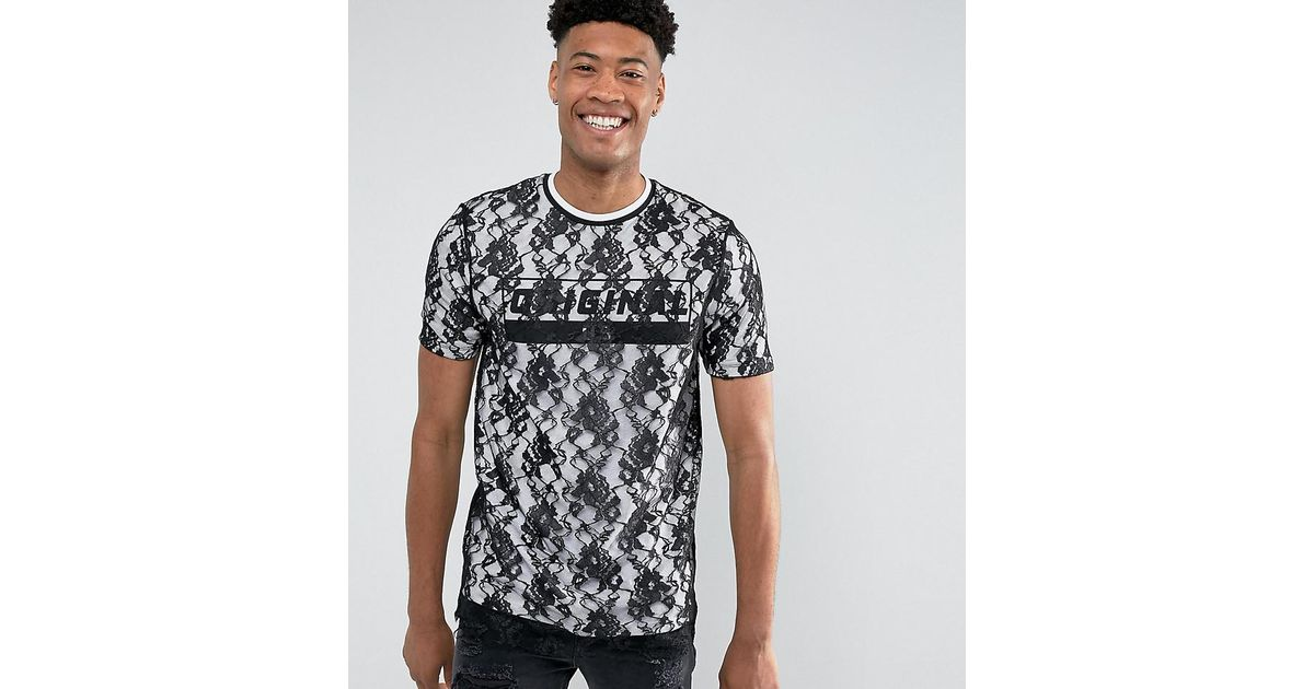 Clearance For Cheap TALL Longline T-Shirt With Lace Double Layer And Text Print - Black Asos Free Shipping Wiki For Sale Buy Outlet Sale Online wPLod3