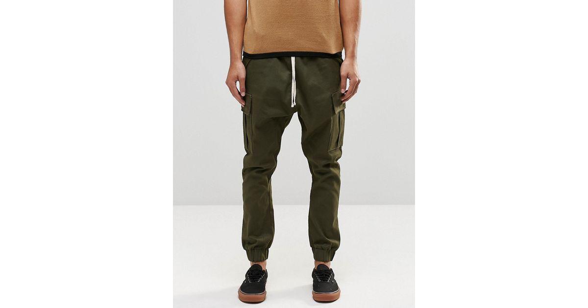 Beautiful Asos Drop Crotch Cargo Joggers In Khaki In Natural For Men (Khaki) | Lyst