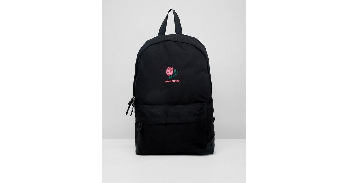 dfac5ab66 ASOS Backpack In Black With Don't Bother Rose Embroidery in Black for Men -  Lyst