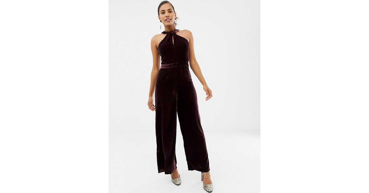 1e5b0cbee41 Lyst - Oasis Jumpsuit With Twist Neck In Burgundy in Purple