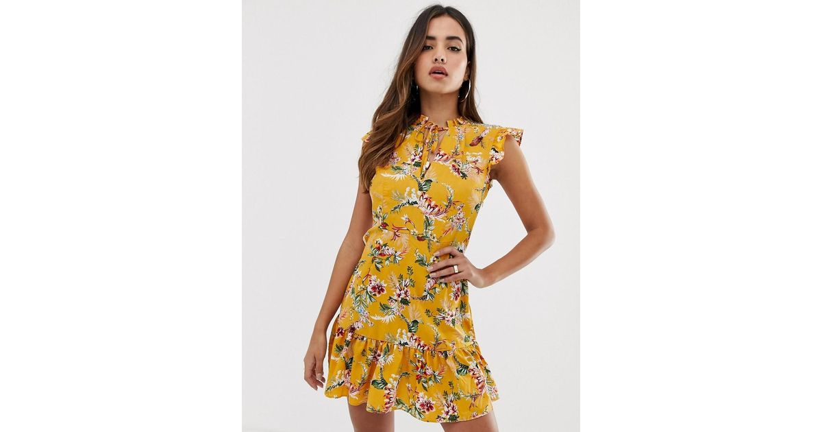 d063f88d53eb Boohoo Mini Dress With Tie Detail In Yellow Floral in Yellow - Lyst