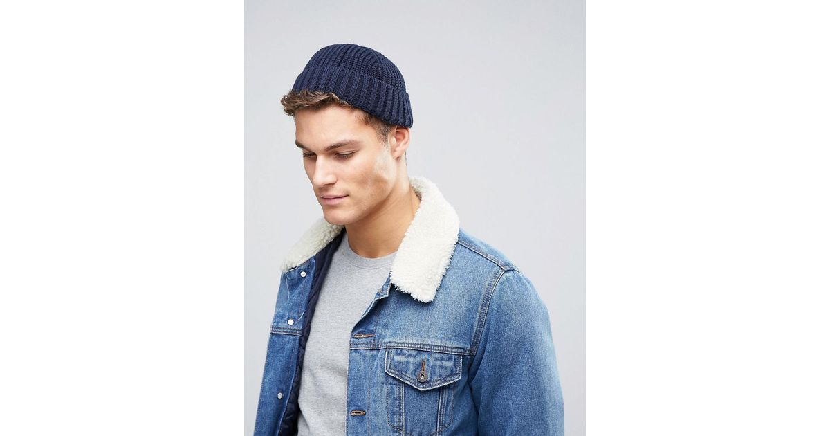 257642c8742 Lyst - ASOS Ribbed Mini Beanie In Navy in Blue for Men
