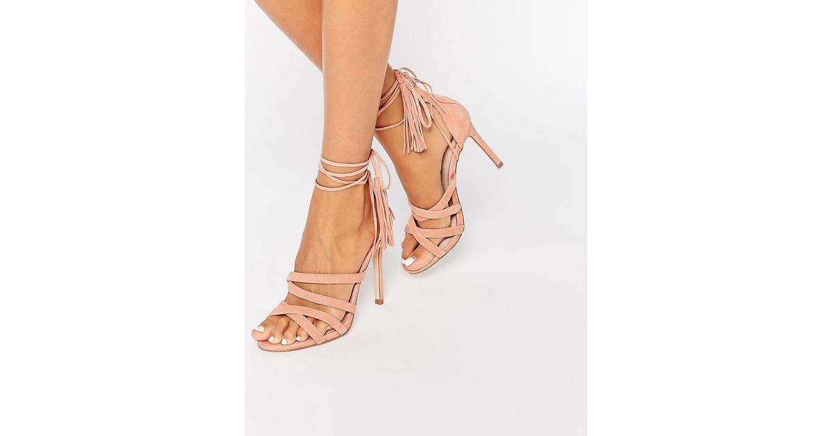 3341aa03bc4 Lyst - Faith Daft Pink Suede Ghillie Tie Up Heeled Sandals in Pink