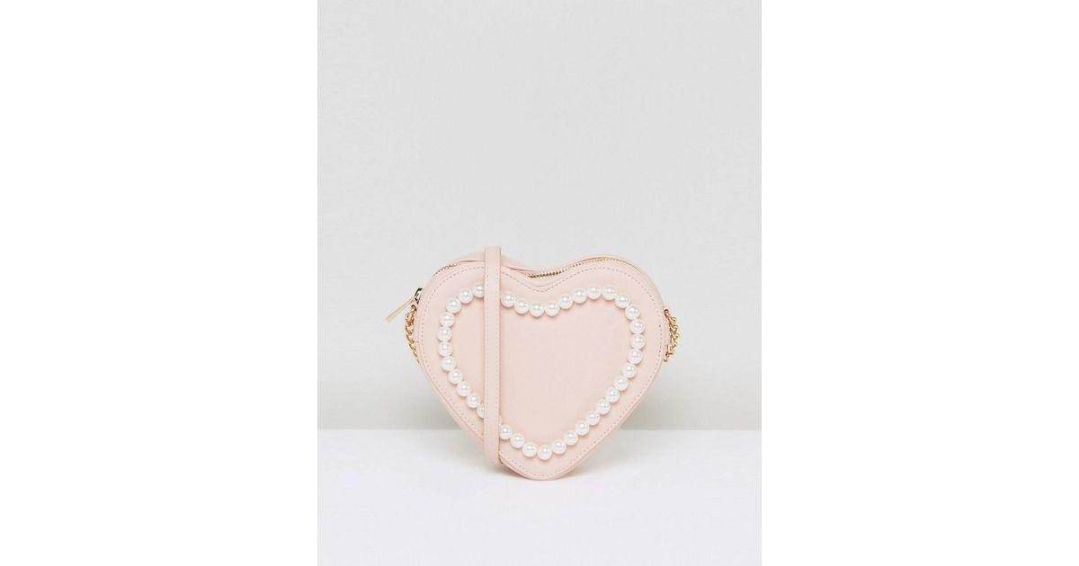 ASOS Pearl Heart Cross Body Bag in Pink - Lyst