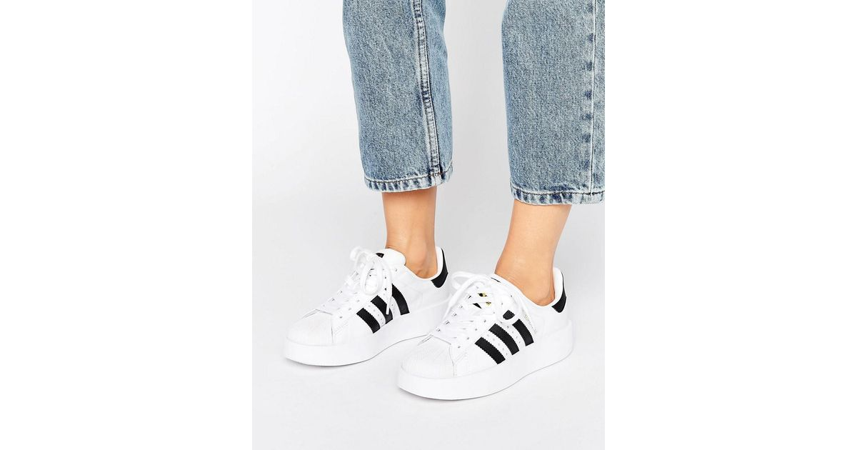 on sale 39213 27004 Lyst - adidas Originals Bold Double Sole White And Black Superstar Sneakers  in White