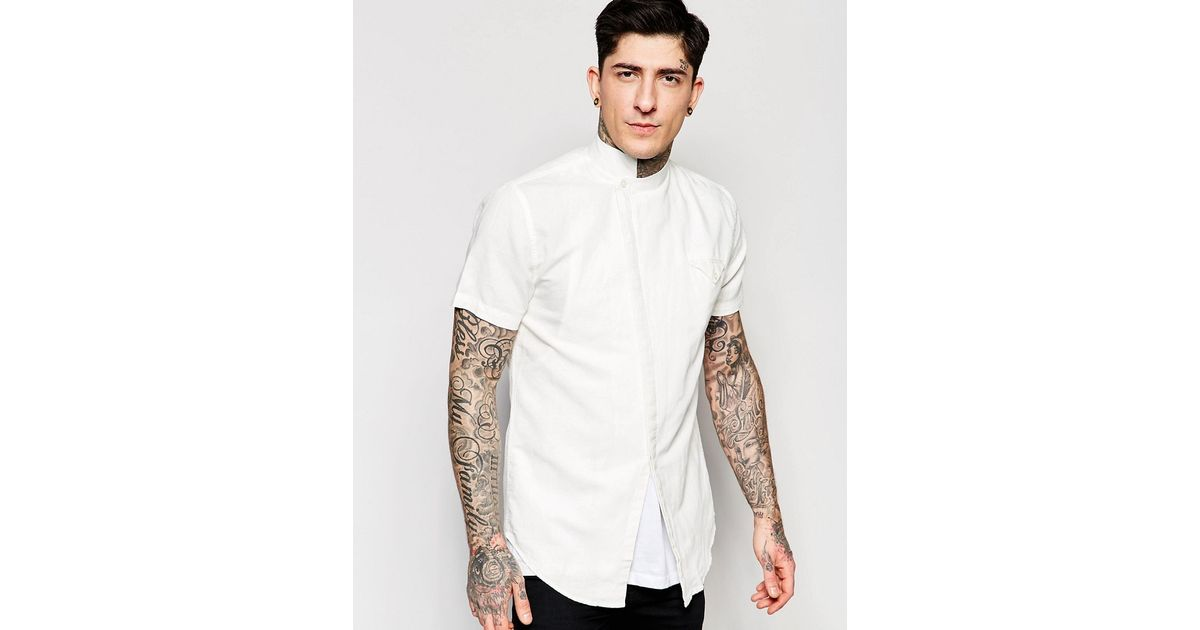 4edd75527 Lindbergh Shirt With Asymmetrical Front In Slim Fit In White - White in  Black for Men - Lyst