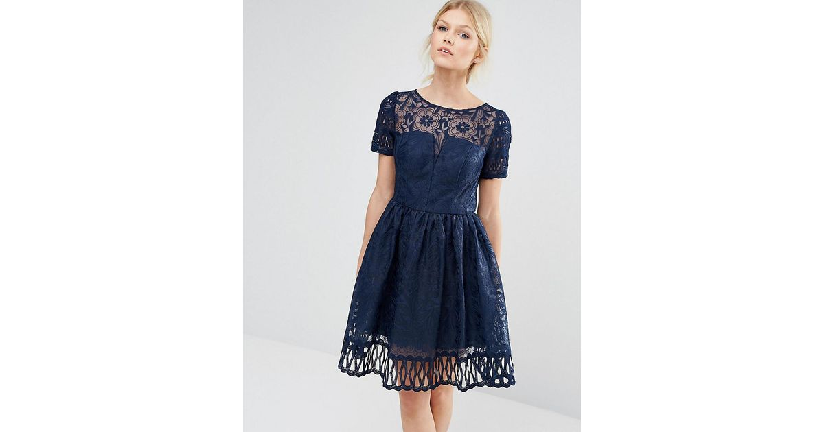 7a5dd7d4300 Chi Chi London Premium Lace Dress Cutwork Detail And Cap Sleeve in Blue -  Lyst
