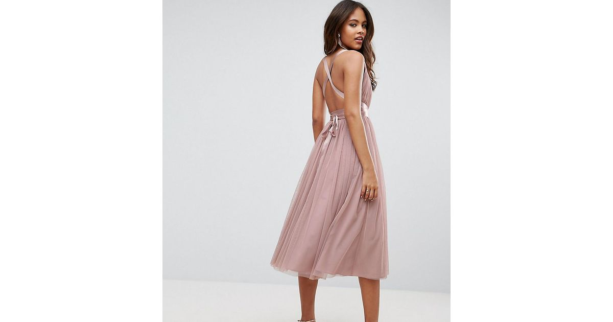 Lyst - Asos Premium Tulle Midi Prom Dress With Ribbon Ties in Pink