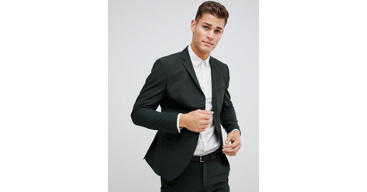 Lyst Selected Dark Green Suit Jacket In Slim Fit In Green For Men
