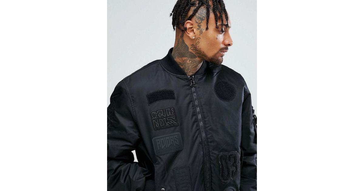 9f533065f Adidas Originals - Logo Padded Patch Bomber Jacket In Black Cd0781 for Men  - Lyst