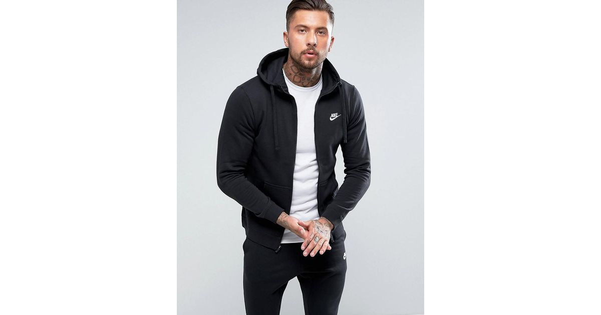 2db6cf474 Nike Club Full Zip Hoodie In Black in Black for Men - Lyst