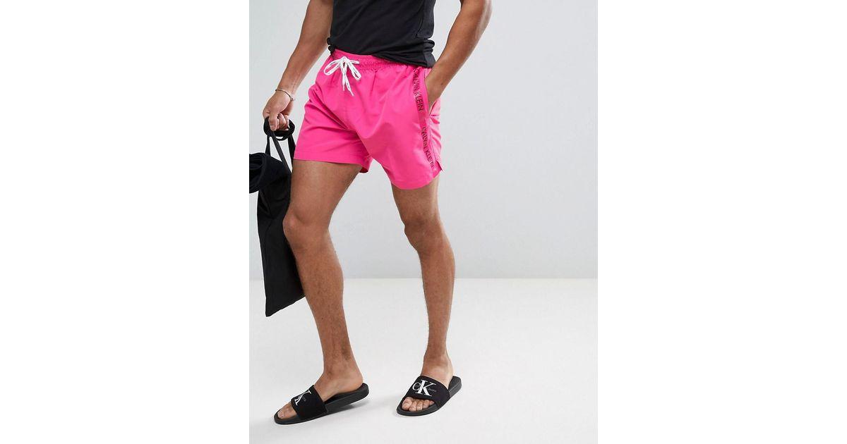 0f2f0a93ab Calvin Klein Logo Tape Drawstring Swim Shorts in Purple for Men - Lyst